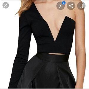 Black Nastygal Asymmetrical One Sleeve Crop Top